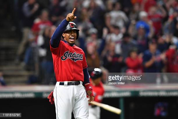 Francisco Lindor of the Cleveland Indians celebrates after scoring on a single by Roberto Perez during the eighth inning against the Tampa Bay Rays...