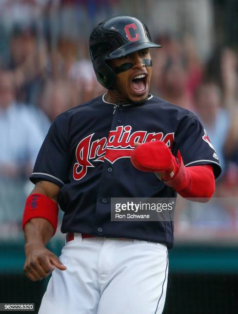 Francisco Lindor of the Cleveland Indians celebrates after scoring on a single by Michael Brantley against the Houston Astros during the third inning...