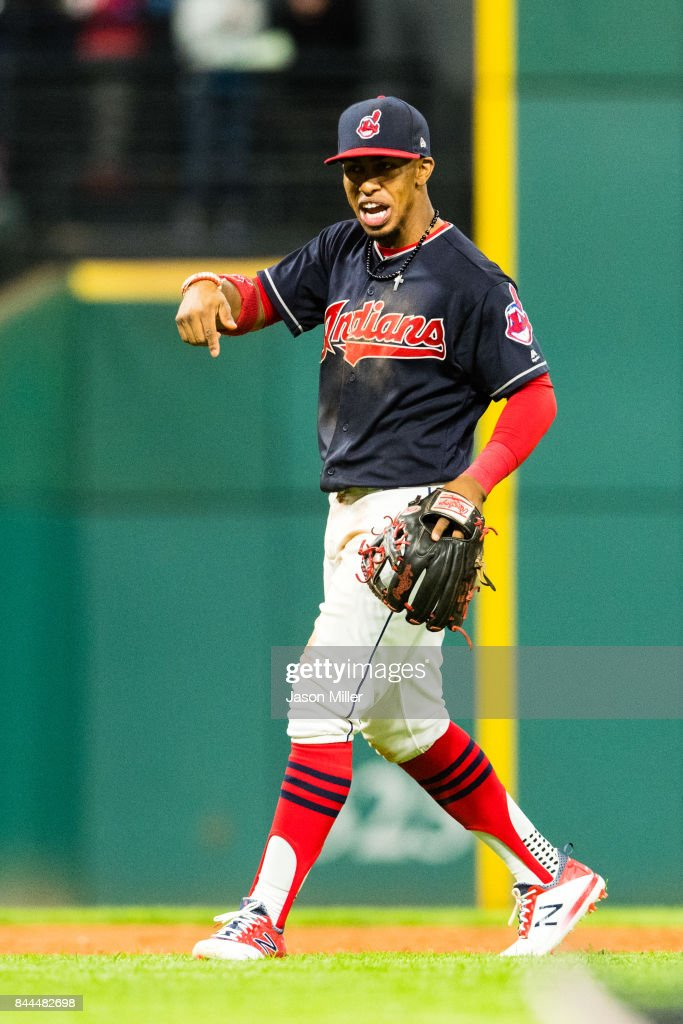 Francisco Lindor #12 of the Cleveland Indians celebrates after the Indians defeated the Baltimore Orioles at Progressive Field on September 8, 2017 in Cleveland, Ohio. The Indians defeated the Orioles 5-0.