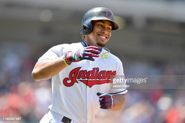 Francisco Lindor of the Cleveland Indians celebrates as he rounds the bases after hitting a two run home run during the third inning against the...