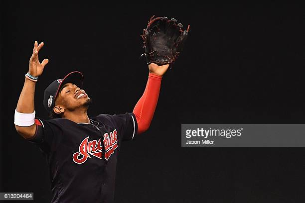 Francisco Lindor of the Cleveland Indians celebrates as the final out is recorded in the ninth inning against the Boston Red Sox during game two of...