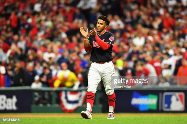 Francisco Lindor of the Cleveland Indians celebrates at the end of the fifth inning against the New York Yankees bin Game Five of the American League...