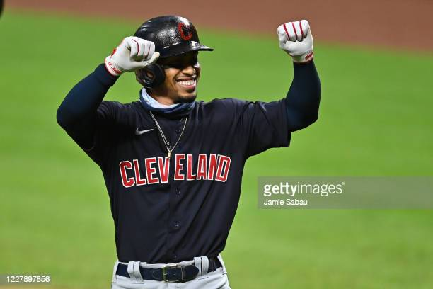Francisco Lindor of the Cleveland Indians celebrates his first inning home run against the Cincinnati Reds at Great American Ball Park on August 3,...