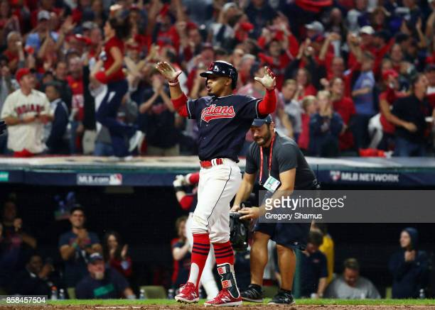 Francisco Lindor of the Cleveland Indians celebrates his grand slam in the sixth inning against the New York Yankees during game two of the American...