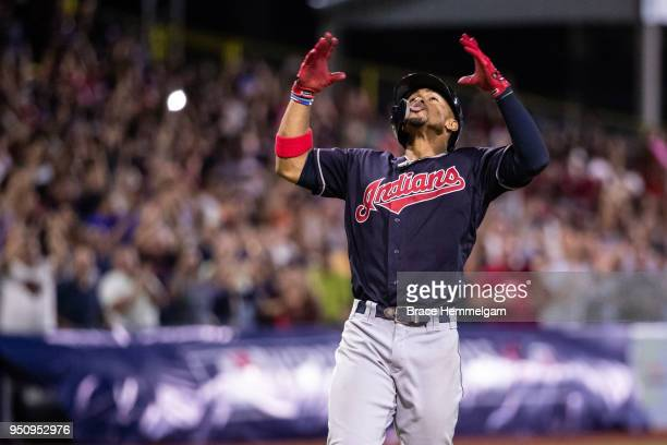 Francisco Lindor of the Cleveland Indians celebrates his home run against the Minnesota Twins at Hiram Bithorn Stadium on Tuesday, April 17, 2018 in...