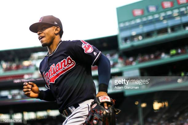 Francisco Lindor of the Cleveland Indians enters the field before a game against the Boston Red Sox at Fenway Park on August 22 2018 in Boston...