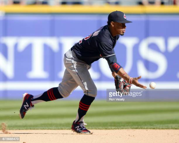 Francisco Lindor of the Cleveland Indians fields against the Chicago White Sox on April 23 2017 at Guaranteed Rate Field in Chicago Illinois The...