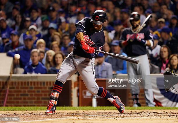 Francisco Lindor of the Cleveland Indians hits a single in the third inning against the Chicago Cubs in Game Four of the 2016 World Series at Wrigley...