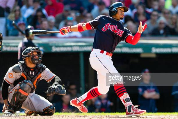 Francisco Lindor of the Cleveland Indians hits a solo home run during the seventh inning against the Baltimore Orioles at Progressive Field on...