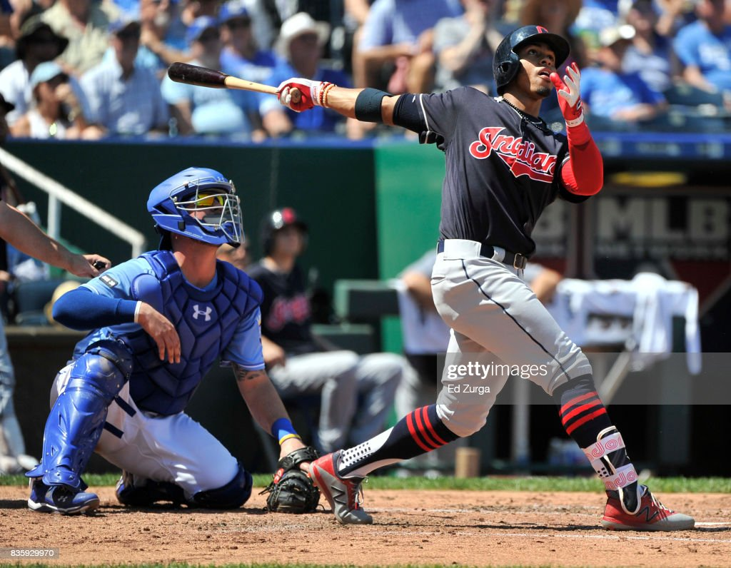 Francisco Lindor #12 of the Cleveland Indians hits a two-run home run in the third inning against the Kansas City Royals at Kauffman Stadium on August 20, 2017 in Kansas City, Missouri.