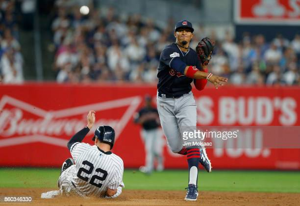 Francisco Lindor of the Cleveland Indians in action against Jacoby Ellsbury of the New York Yankees in Game Three of the American League Divisional...