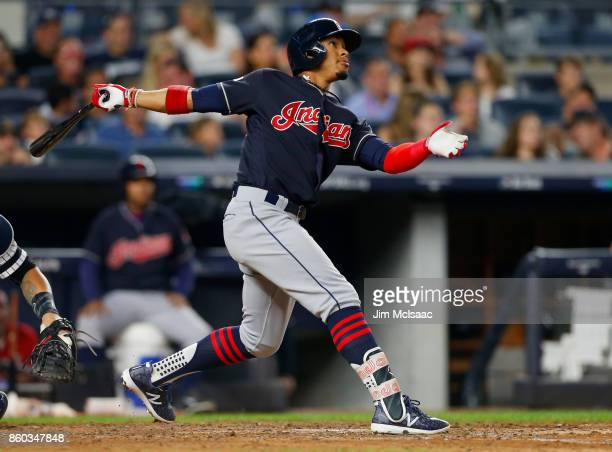Francisco Lindor of the Cleveland Indians in action against the New York Yankees in Game Three of the American League Divisional Series at Yankee...
