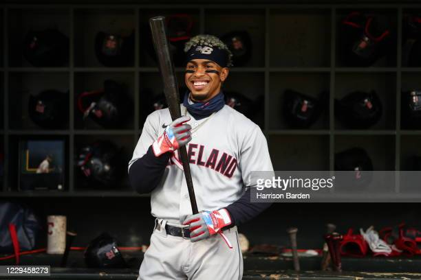 Francisco Lindor of the Cleveland Indians in the dugout prior to the game between the Cleveland Indians and the Minnesota Twins at Target Field on...