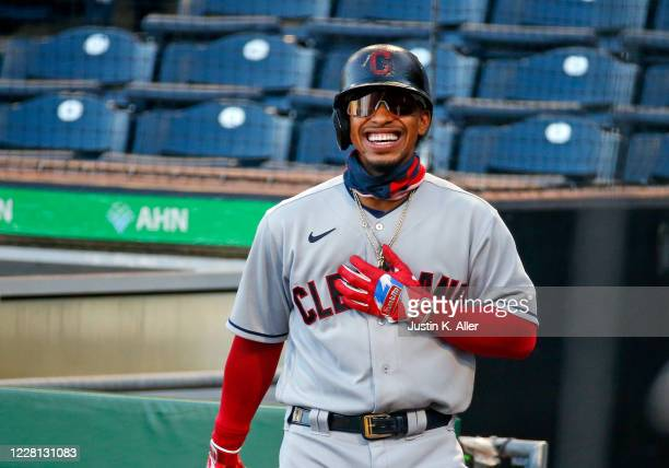 Francisco Lindor of the Cleveland Indians laughs while on deck against the Pittsburgh Pirates at PNC Park on August 20, 2020 in Pittsburgh,...