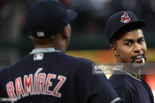 Francisco Lindor of the Cleveland Indians looks on against the Baltimore Orioles at Oriole Park at Camden Yards on April 23 2018 in Baltimore Maryland