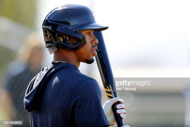 Francisco Lindor of the Cleveland Indians looks on during a workout on Wednesday, February 19, 2020 at Goodyear Ballpark in Goodyear, Arizona.