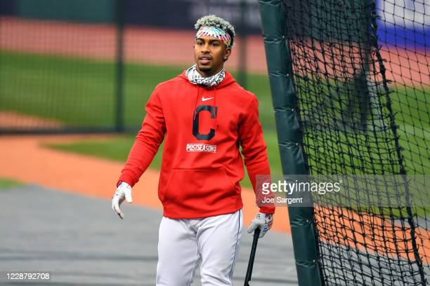 Francisco Lindor of the Cleveland Indians looks on during batting practice prior to Game 1 of the Wild Card Series between the New York Yankees and...
