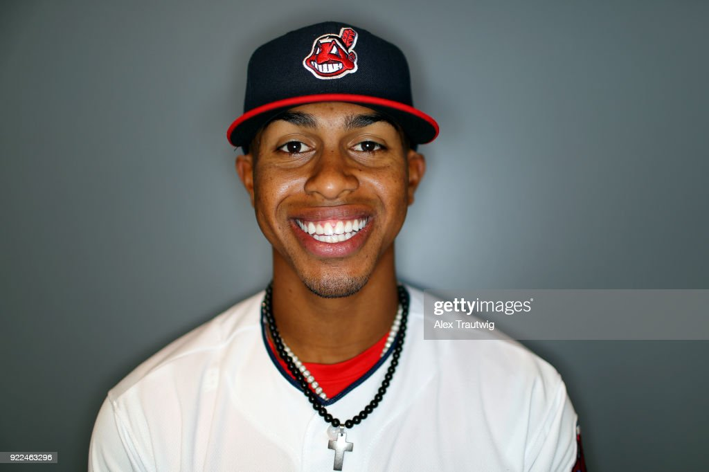 Francisco Lindor #12 of the Cleveland Indians poses during Photo Day on Wednesday, February 21, 2018 at Goodyear Ballpark in Goodyear, Arizona.