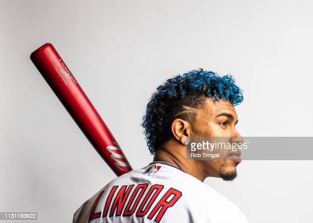 Francisco Lindor of the Cleveland Indians poses for a portrait at the Cleveland Indians Player Development Complex on February 21 2019 in Goodyear...
