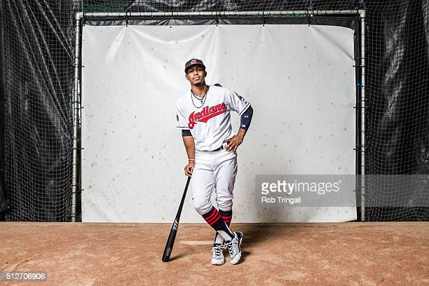 Francisco Lindor of the Cleveland Indians poses for a portrait during photo day at the Cleveland Indians Development Complex on February 27 2016 in...