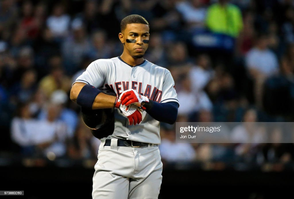 Francisco Lindor #12 of the Cleveland Indians reacts after grounding into a double play to end the fifth inning against the Chicago White Sox at Guaranteed Rate Field on June 13, 2018 in Chicago, Illinois.