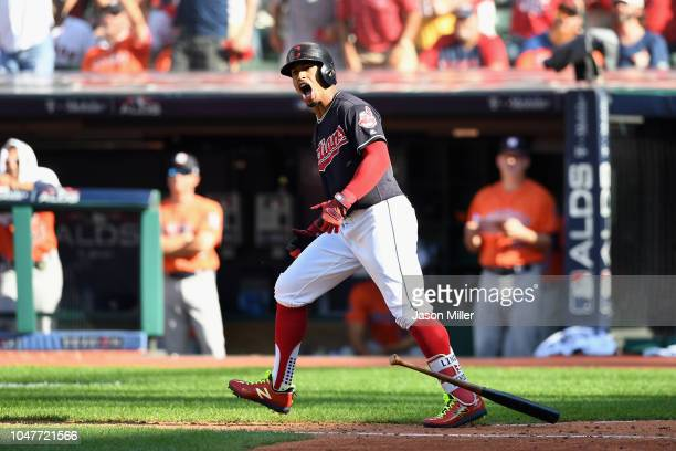 Francisco Lindor of the Cleveland Indians reacts after hitting a solo home run in the fifth inning against the Houston Astros during Game Three of...
