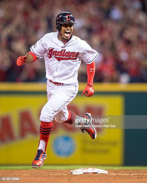 Francisco Lindor of the Cleveland Indians reacts after hitting a solo home run during the third inning of game one of the American League Division...