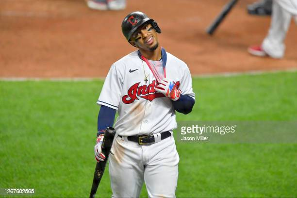 Francisco Lindor of the Cleveland Indians reacts after striking out during the seventh inning against the Detroit Tigers at Progressive Field on...