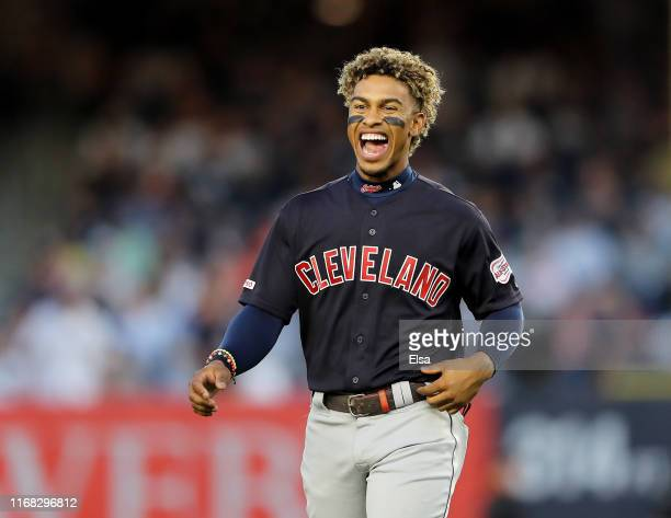 Francisco Lindor of the Cleveland Indians reacts after the first inning against the New York Yankees at Yankee Stadium on August 15, 2019 in the...