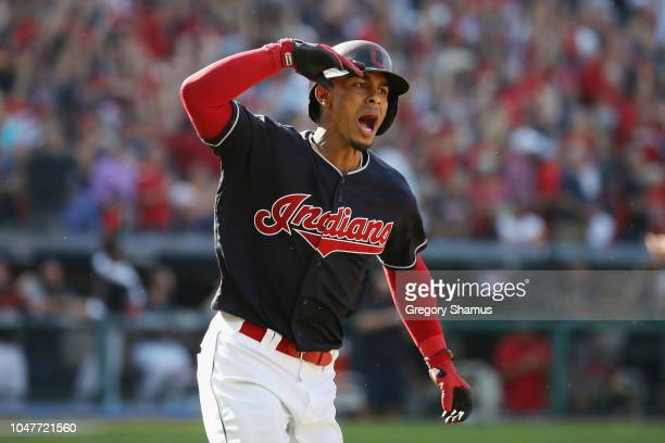 Francisco Lindor of the Cleveland Indians reacts as he runs the bases after hitting a solo home run in the fifth inning against the Houston Astros...