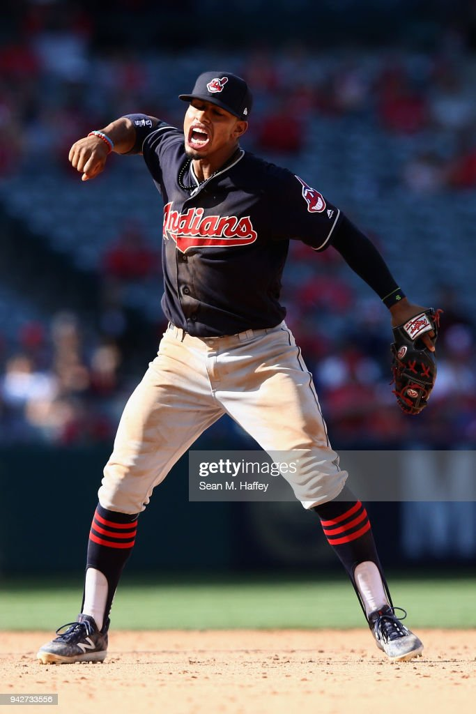 Francisco Lindor #12 of the Cleveland Indians reacts to an out during a game against the Los Angeles Angels of Anaheim at Angel Stadium on April 4, 2018 in Anaheim, California.