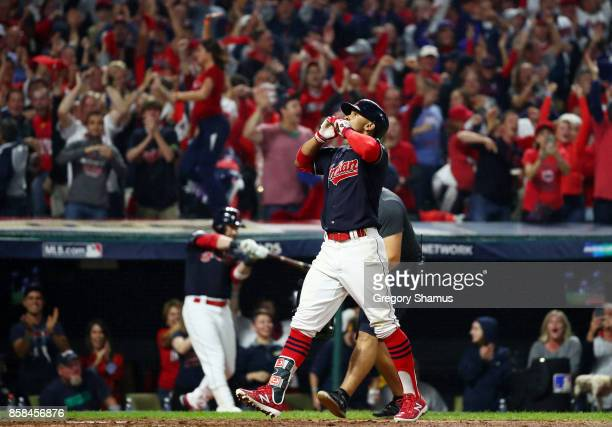 Francisco Lindor of the Cleveland Indians reacts to his grand slam in the sixth inning against the New York Yankees during game two of the American...