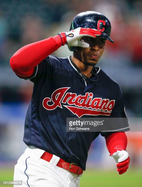 Francisco Lindor of the Cleveland Indians rounds the bases after hitting a solo home run off Trevor Hildenberger of the Minnesota Twins during the...