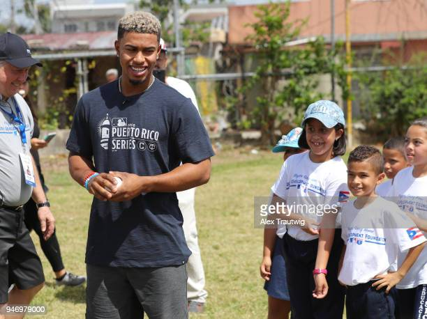 Francisco Lindor of the Cleveland Indians runs a special clinic at his former grammar school Escuela Villa Marina as part of the Players Going Home...
