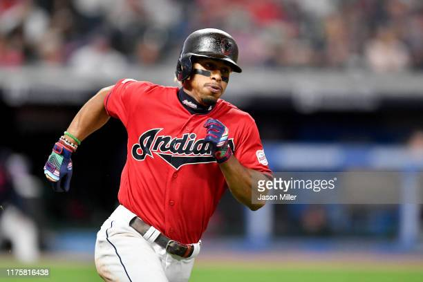 Francisco Lindor of the Cleveland Indians runs out a double during the fifth inning against the Detroit Tigers at Progressive Field on September 19...