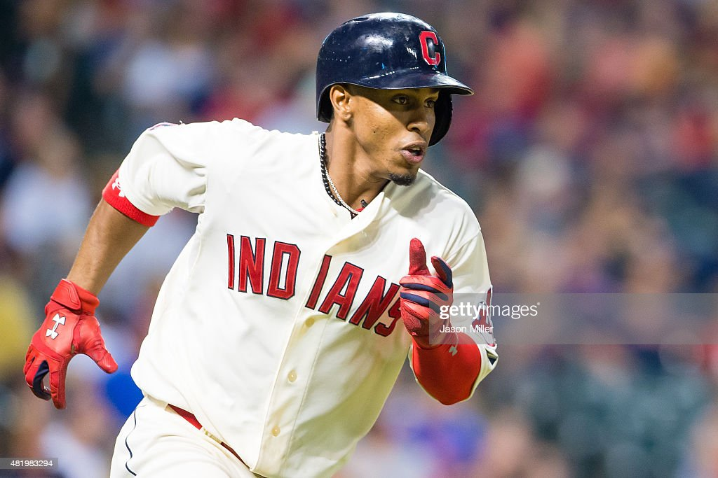Francisco Lindor #12 of the Cleveland Indians runs out a leadoff double during the eighth inning against the Cleveland Indians at Progressive Field on July 25, 2015 in Cleveland, Ohio.