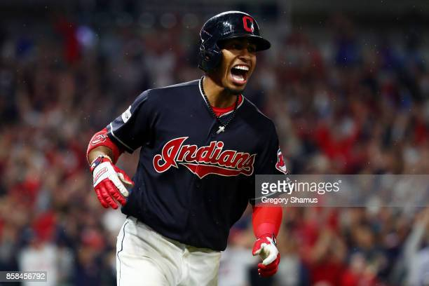 Francisco Lindor of the Cleveland Indians runs the bases after hitting a grand slam in the sixth inning against the New York Yankees during game two...