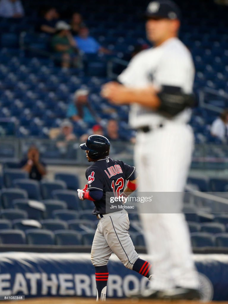 Francisco Lindor #12 of the Cleveland Indians runs the bases after his eighth inning home run against Caleb Smith #41 of the New York Yankees in the second game of a doubleheader at Yankee Stadium on August 30, 2017 in the Bronx borough of New York City.