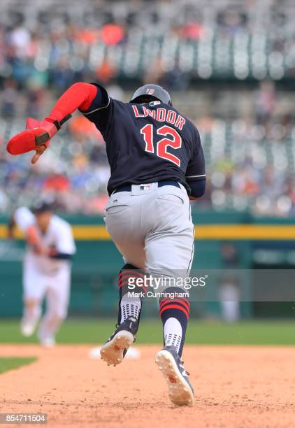 Francisco Lindor of the Cleveland Indians runs the bases during game one of a double header against the Detroit Tigers at Comerica Park on September...