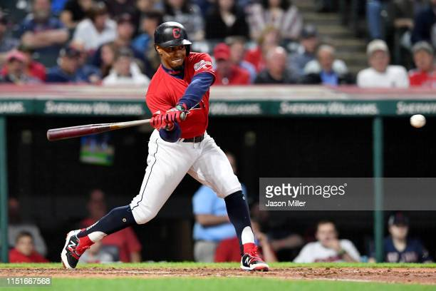 Francisco Lindor of the Cleveland Indians singles to center during the sixth inning against the Tampa Bay Rays at Progressive Field on May 24 2019 in...