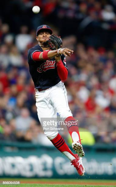 Francisco Lindor of the Cleveland Indians throws out Avisail Garcia of the Chicago White Sox at first base during the fourth inning at Progressive...