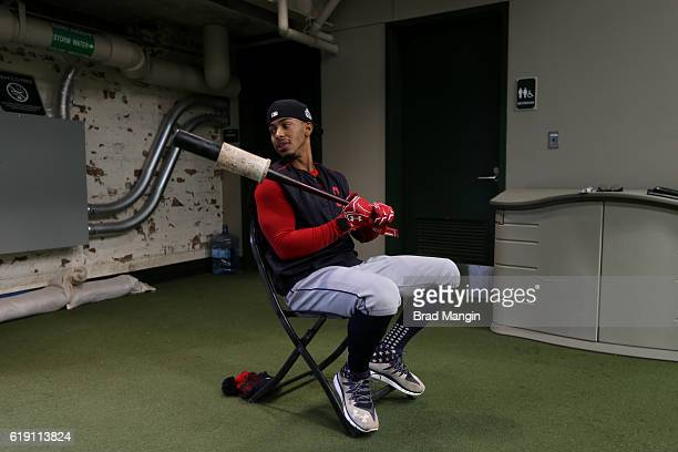 Francisco Lindor of the Cleveland Indians watches batting practice in the outfield batting cage prior to Game 4 of the 2016 World Series between the...
