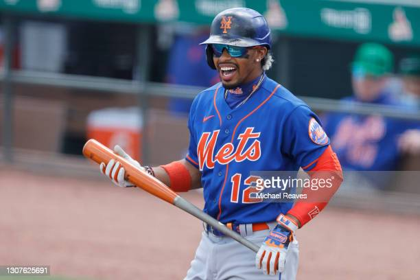 Francisco Lindor of the New York Mets looks on during the first inning against the Miami Marlins of a Grapefruit League spring training game at Roger...
