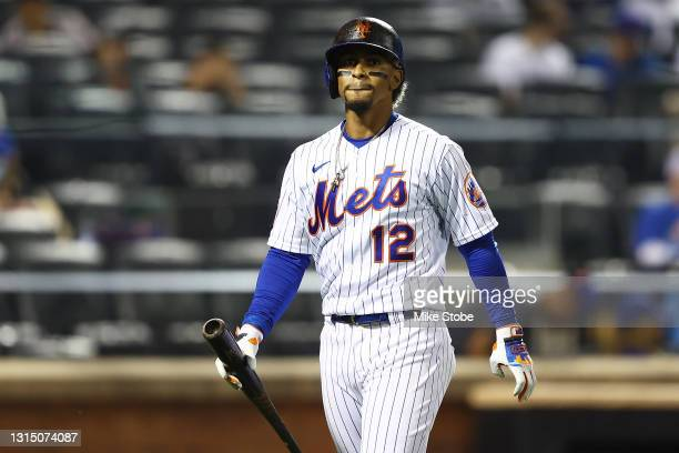 Francisco Lindor of the New York Mets reacts after striking out in the sixth inning against the Boston Red Sox at Citi Field on April 28, 2021 in New...
