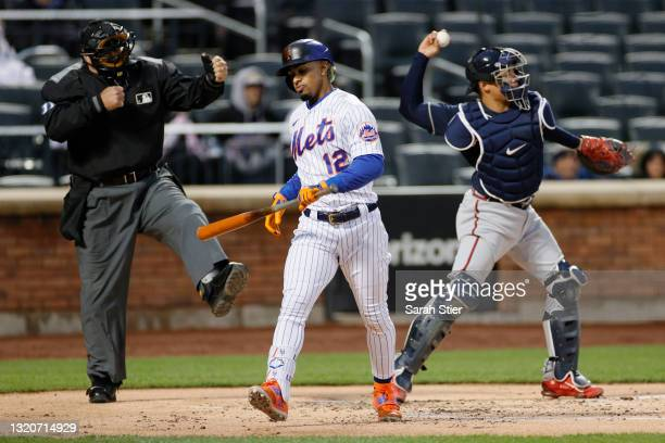Francisco Lindor of the New York Mets reacts after striking out during the first inning against the Atlanta Braves at Citi Field on May 29, 2021 in...