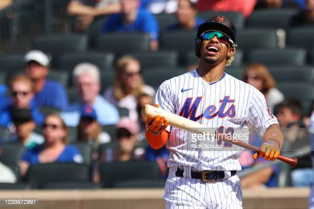 Francisco Lindor of the New York Mets reacts to striking out against the Philadelphia Phillies during the first inning of a game at Citi Field on...