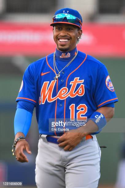 Francisco Lindor of the New York Mets warms up before the start of the spring training game against the Houston Astros at The Ballpark of The Palm...