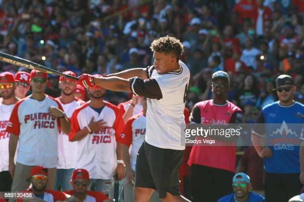 Francisco Lindor participates in Home Run Derby as part of Yadier Molina Celebrity Softball Game at Hiram Bithorn Stadium on December 9 2017 in San...