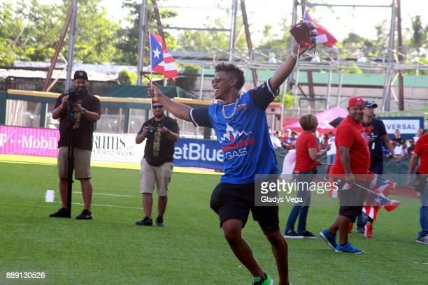 Francisco Lindor participates to the Yadier Molina Celebrity Softball Game at Hiram Bithorn Stadium on December 9 2017 in San Juan Puerto Rico