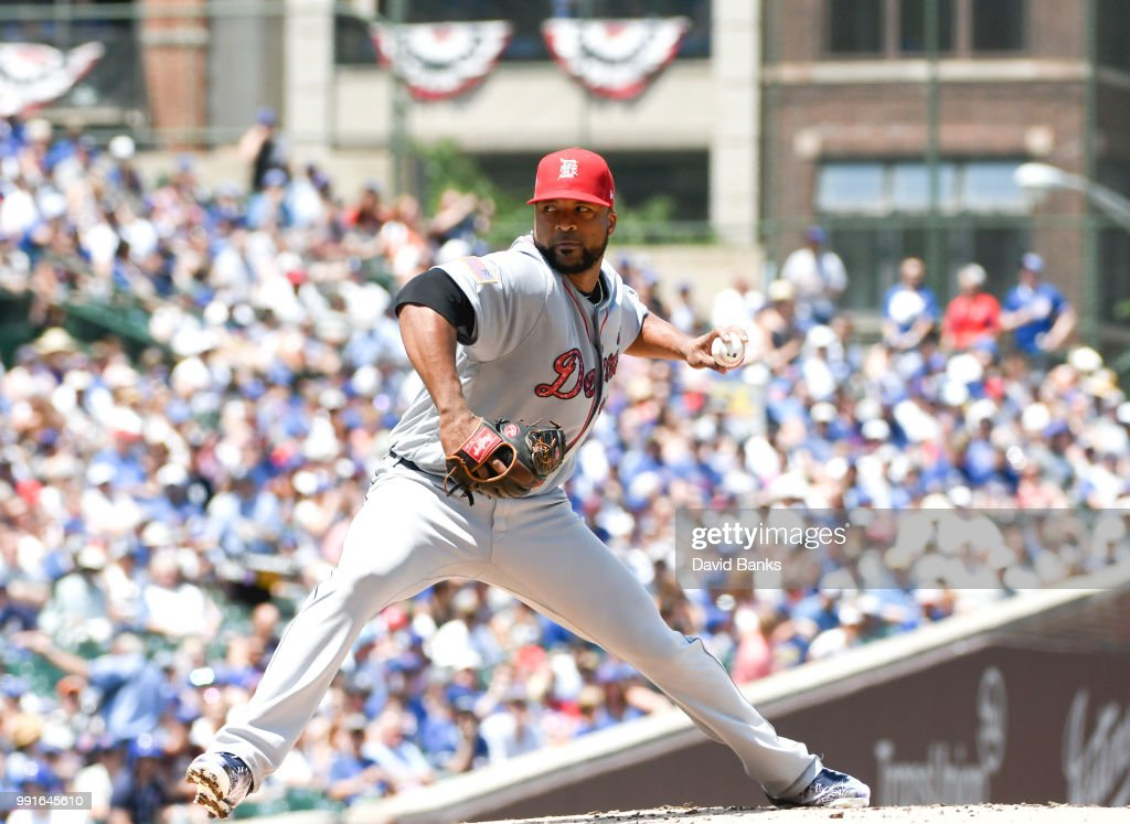 Francisco Liriano #38 of the Detroit Tigers pitches against the Chicago Cubs during the first inning on July 4, 2018 at Wrigley Field in Chicago, Illinois.